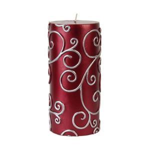 3 in. x 6 in. Red Scroll Pillar Candle Bulk (12-Case)