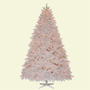 7.5 ft. Pre-Lit Devon White Spruce Quick-Set Artificial Christmas Tree with Clear Lights