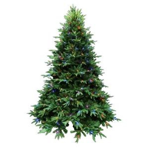 7.5 ft. Indoor Pre-Lit LED Splendor Spruce Artificial Christmas Tree with Remote and 49 Lighting Combinations