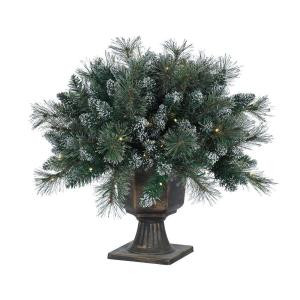 2 ft. Pre-Lit LED Potted Shimmering Arctic Artificial Christmas Pine Topiary Bush