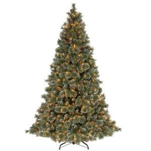 12 ft. Glittery Bristle Pine Hinged Artificial Christmas Tree with Pinecones and 1200 Ready-Lit Clear Lights