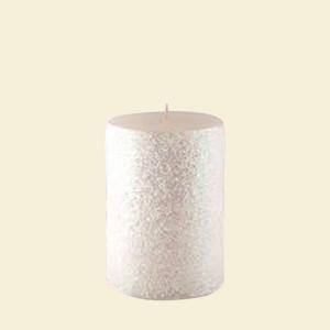 3 in. x 3 in. Metallic White Scratch Pillar Candle Bulk (12-Box)