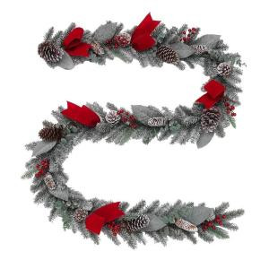 9 ft. Snowy PVC Garland with Pinecones and Red Accents