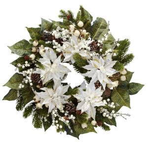 24.0 in. H White Snowwhite Poinsettia Wreath