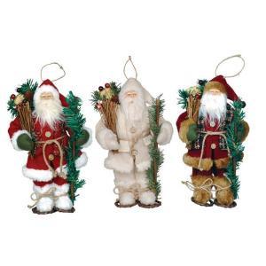 9 in. Snowshoe Santa Ornament (3-Assorted)
