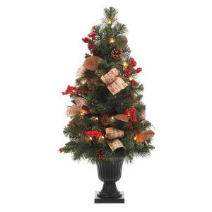 32 in. Pre-Lit Natural Pine Potted Artificial Christmas Tree with Pinecones, Red Berries and Burlap