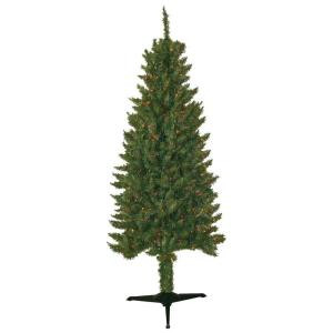 6 ft. Pre-Lit Slender Artificial Spruce Christmas Tree with Multi-color Lights