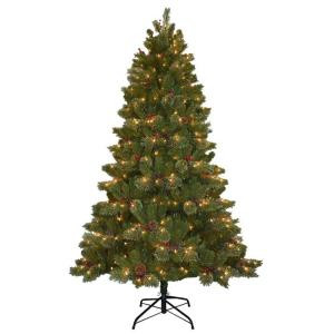 10 ft. Cashmere Cone and Berry Decorated Hinged Artificial Christmas Tree
