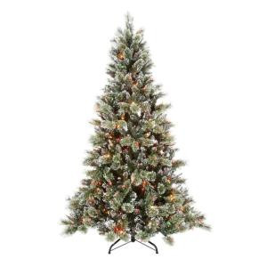 7.5 ft. Pre-Lit Sparkling Pine Artificial Christmas Tree with Multi-Color Lights, Pinecones and Snowy Tips