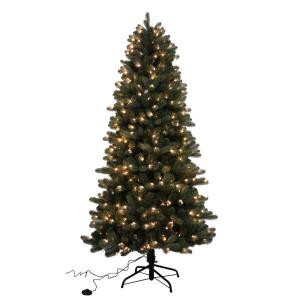 7.5 ft. Pre-Lit LED Twinkle Blue Spruce Slim Artificial Christmas Tree with 4 Light Functions