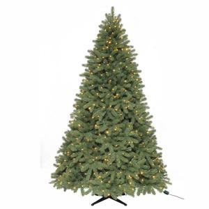 7.5 ft. Pre-Lit LED Downswept Dennison Spruce Quick-Set Artificial Christmas Tree with Clear and Multi-Color Lights