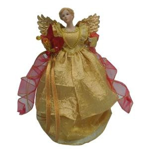 12 in. Gold Fabric Angel Tree Topper