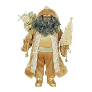 18 in. Tabletop African American Santa with Shimmer Coat