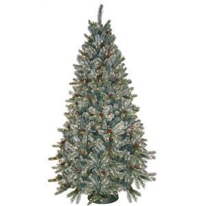 7.5 ft. Pre-Lit Siberian Frosted Pine Artificial Christmas Tree with Clear Lights and Pine Cones