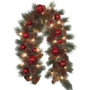 Decorative Collection 9 ft. Pinecone and Red Ornament Garland with 50 Clear Lights