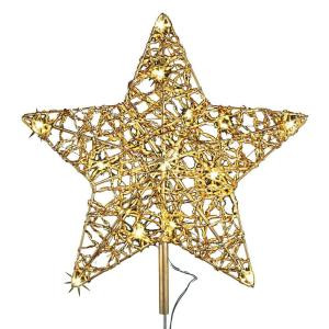 12 in. 18-Light LED Gold Five Star Metal Tree Topper