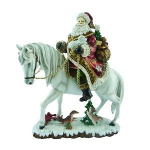 15.75 in. Santa on White Horse Figurine