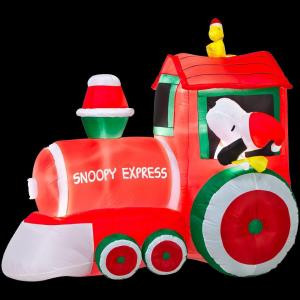 Peanuts 5 ft. Airblown Train with Snoopy and Woodstock Scene