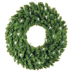 5 ft. Pre-Lit Artificial Aspen Spruce Wreath with Clear Lights