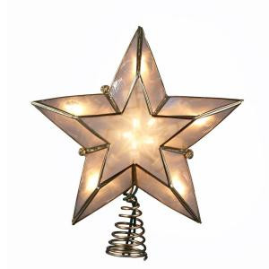 10-Light 5-Point Ivory and Gold Capiz Star Tree Topper
