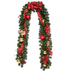 Decorative Collection 9 ft. Home Spun Garland with 50 Clear Lights and Decorations