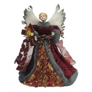 12 in. Burgundy Fabric Angel Tree Topper