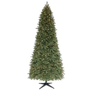 9 ft. Pre-Lit Downswept Wimberly Slim Spruce Artificial Christmas Tree with SureBright Clear Lights