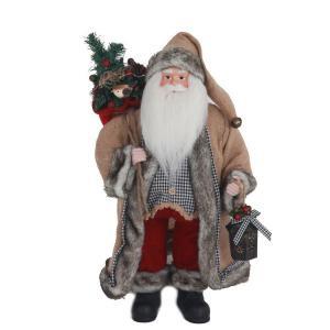 18 in. Tabletop Santa with Burlap Coat