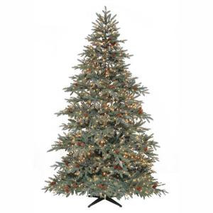 7.5 ft. Pre-Lit Anson Pine Artificial Christmas Tree with Surebright Clear Lights and Pinecones