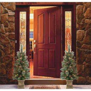 3.5 ft. Pre-Lit Green Porch Artificial Christmas Tree (Set of 2)