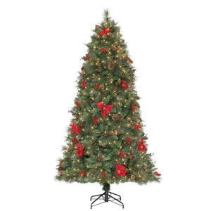7.5 ft. Pre-Lit Victoria Spruce Artificial Christmas Tree with Clear Lights, Silk Poinsettias and Display Branches