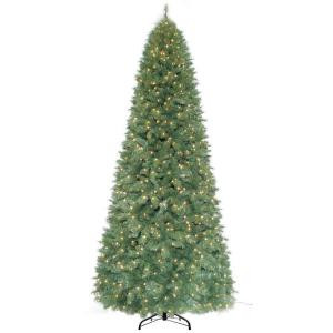 12 ft. Pre-Lit Morgan Pine Quick-Set Artificial Christmas Tree with 1100 Clear Lights