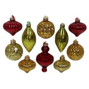 3 in., 4.25 in. and 5 in. Acid Finish Red, Green and Gold Mixed Shapes with Tone on Tone Ribbon Ornament