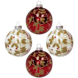 3.25 in. Red and White Round Ornament with Gold Glitter Accents (4-Count)