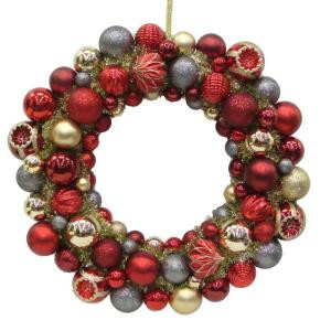Regal Holiday 24 in. Christmas Shatterproof Ornament Ball Wreath