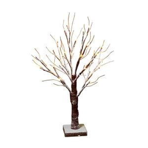 24 in. Battery-Operated Pre-Lit Snowy Tabletop Tree