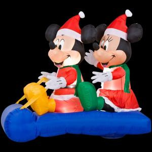 5 ft. Airblown Inflatable LED Lighted Mickey and Minnie's Sled Scene