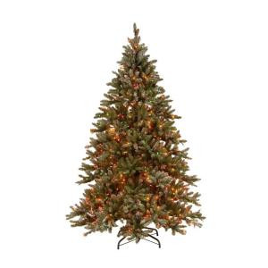 9 ft. Pre-lit Snowy Pine Artificial Christmas Tree with Pine Cones and Multi-Color Lights