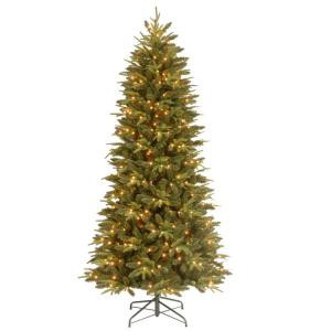 7.5 ft. Feel-Real Pomona Pine Slim Artificial Christmas Tree with 400 Ready-Lit Clear Lights