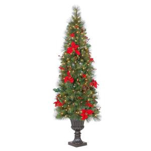 6.5 ft. Pre-Lit Victoria Spruce Potted Artificial Christmas Tree with Clear Lights, Silk Poinsettias & Display Branches