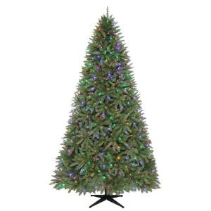 9 ft. Pre-Lit LED Matthew Pine Quick-Set Artificial Christmas Tree with Clear and Multi-Colored Lights