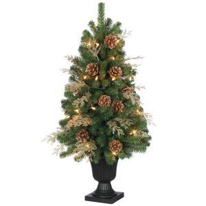 32 in. Pre-Lit Pinecone and Golden Cedar Artificial Tree