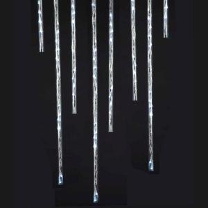 144-Light LED Frosted White Meteor Shower Light Stick Set