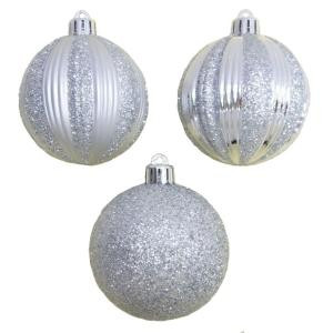 2.7 in. Silver Striped Shatter-Resistant Ornament (12-Piece)
