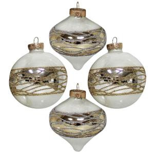 3.25 in. Opal White Finish with Gold and Silver Glitter Accents Ornament (4-Count)
