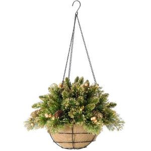 20 in. Glittery Gold Pine Hanging Basket with Glitter, Gold Cones, Gold Glittered Berries