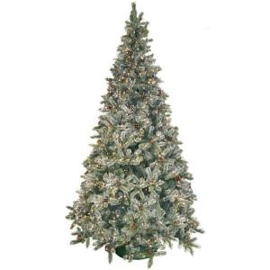 9 ft. Pre-Lit Siberian Frosted Pine Artificial Christmas Tree with Clear Lights and Pine Cones