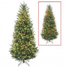 7.5 ft. Natural Fraser Slim Fir Artificial Christmas Tree with Dual Color LED Lights