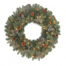 30 in. Pre-Lit Greenland Artificial Wreath with Clear Lights and Decorations