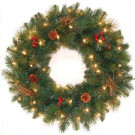 24 in. Pre-Lit Hawkins Pine Artificial Wreath with Clear Lights and Pine Cones and Berries and Twigs